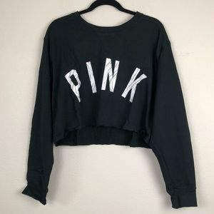 VS PINK black marble cropped pullover